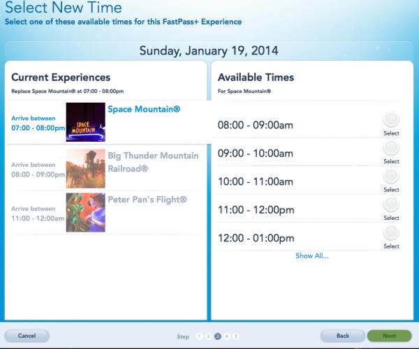 Tela do agendamento do FP+ no site My Disney Experience