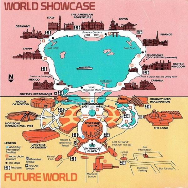 Mapa do Epcot quando o parque foi inaugurado
